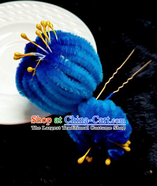 Chinese Ancient Qing Dynasty Court Royalblue Velvet Chrysanthemum Hairpins Traditional Hanfu Handmade Hair Accessories for Women