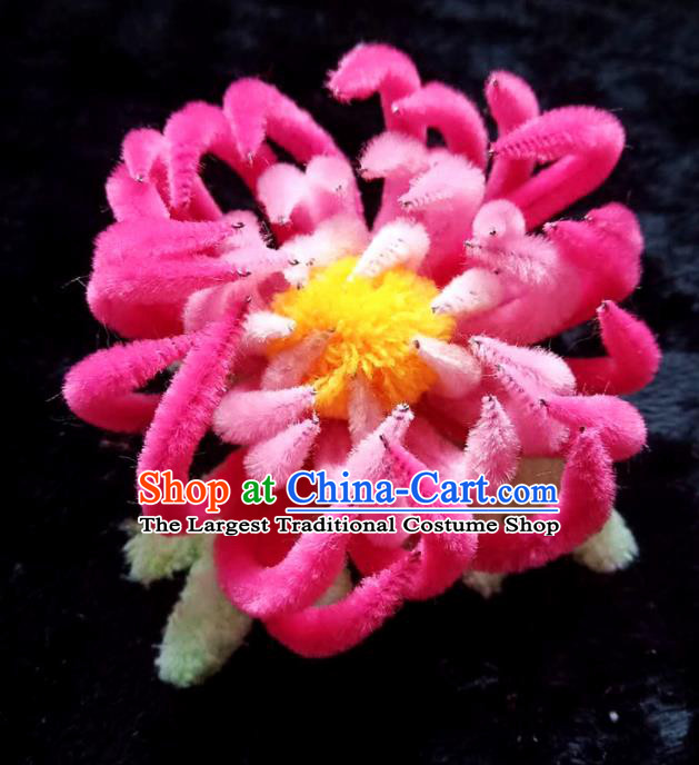 Handmade Chinese Ancient Qing Dynasty Rosy Velvet Chrysanthemum Hairpins Traditional Court Hanfu Hair Accessories for Women
