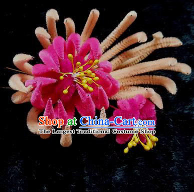 Chinese Ancient Qing Dynasty Rosy Velvet Chrysanthemum Hairpins Traditional Court Hanfu Hair Accessories for Women