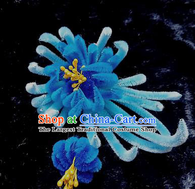 Chinese Handmade Qing Dynasty Blue Velvet Chrysanthemum Hairpins Traditional Ancient Court Hanfu Hair Accessories for Women