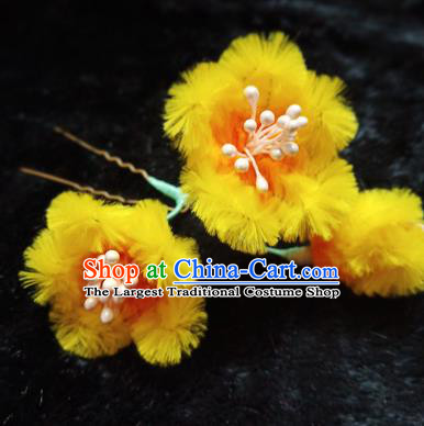 Chinese Handmade Qing Dynasty Court Yellow Velvet Plum Hairpins Traditional Ancient Hanfu Hair Accessories for Women