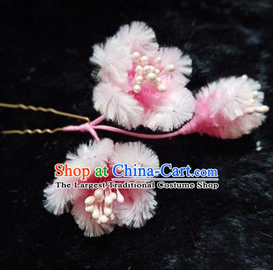 Chinese Handmade Qing Dynasty Court Light Pink Velvet Plum Hairpins Traditional Ancient Hanfu Hair Accessories for Women
