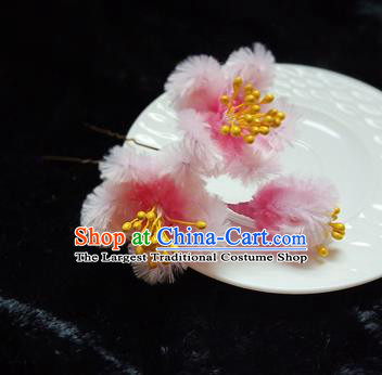 Chinese Handmade Qing Dynasty Court Pink Velvet Plum Hairpins Traditional Ancient Hanfu Hair Accessories for Women