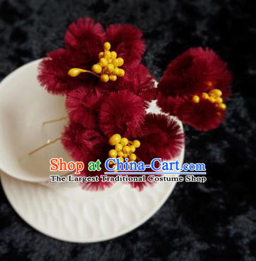 Chinese Handmade Qing Dynasty Court Wine Red Velvet Plum Hairpins Traditional Ancient Hanfu Hair Accessories for Women