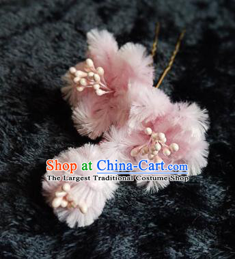 Chinese Handmade Qing Dynasty Court Pink Plum Velvet Hairpins Traditional Ancient Hanfu Hair Accessories for Women