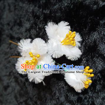 Chinese Handmade Qing Dynasty Court White Plum Velvet Hairpins Traditional Ancient Hanfu Hair Accessories for Women