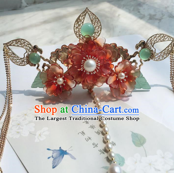 Chinese Handmade Ancient Red Peony Hair Crown Hairpins Traditional Hanfu Hair Accessories for Women