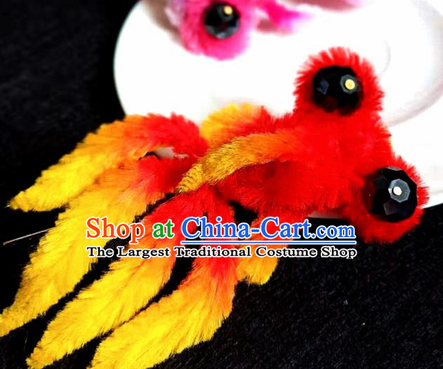 Chinese Ancient Court Red Velvet Goldfish Hair Claw Hairpins Traditional Hanfu Handmade Hair Accessories for Women