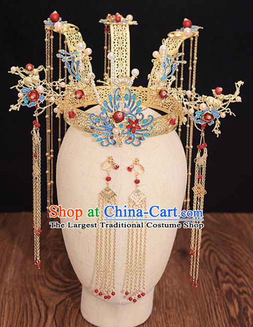 Chinese Ancient Bride Phoenix Coronet Tassel Hairpins Traditional Hanfu Wedding Hair Accessories for Women