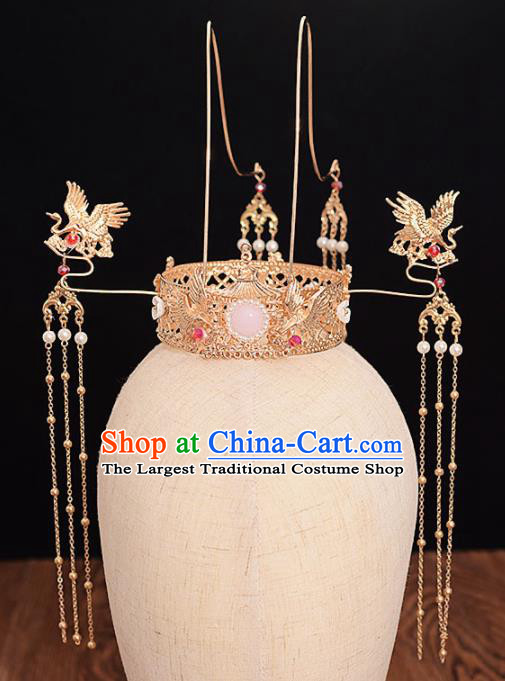 Chinese Ancient Bride Golden Crane Phoenix Coronet Tassel Hairpins Traditional Hanfu Wedding Hair Accessories for Women