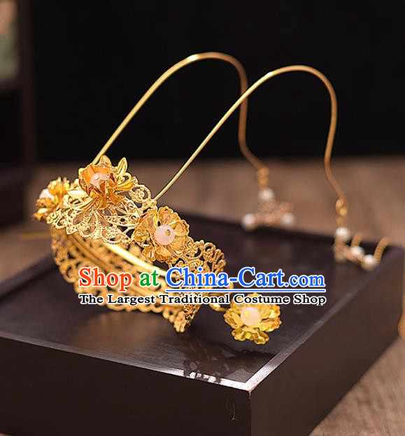 Chinese Ancient Bride Golden Phoenix Coronet Tassel Hairpins Traditional Hanfu Wedding Hair Accessories for Women