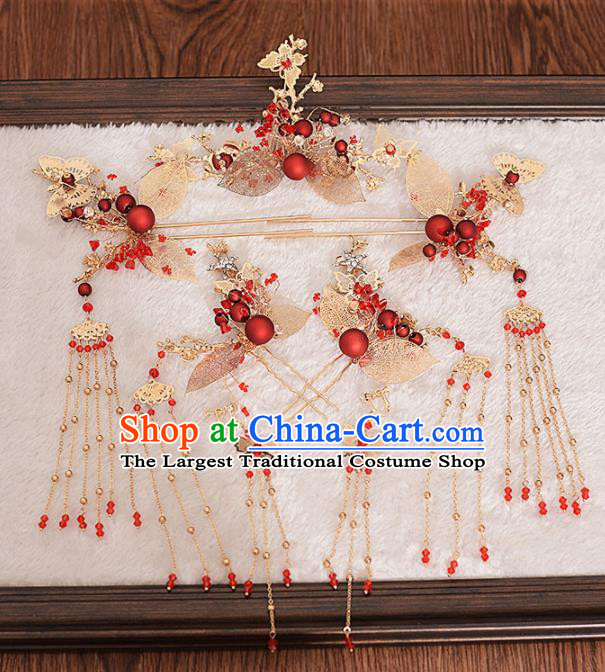 Chinese Ancient Bride Hair Claws Tassel Hairpins Traditional Hanfu Wedding Hair Accessories for Women
