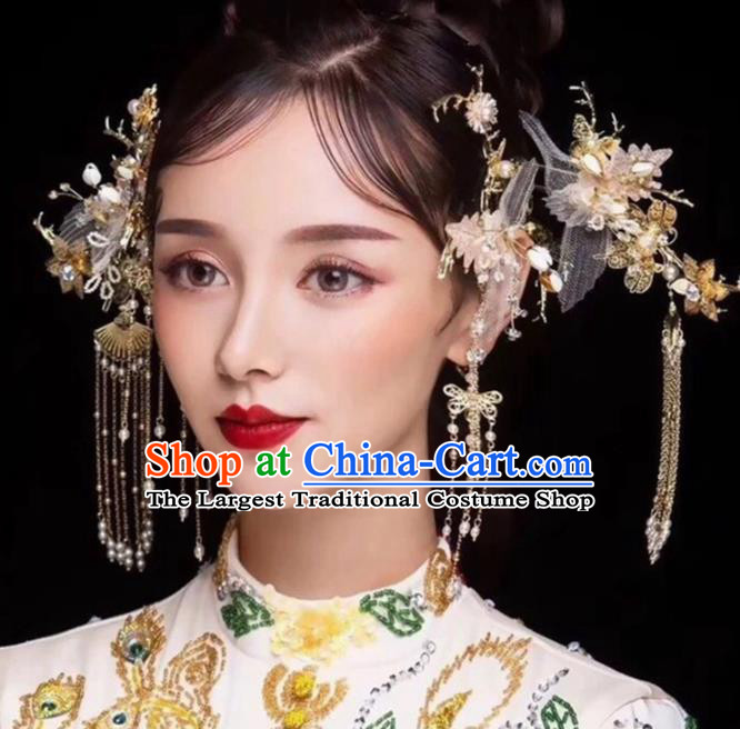 Chinese Ancient Bride Silk Flower Hair Claws Hairpins Traditional Hanfu Wedding Hair Accessories for Women