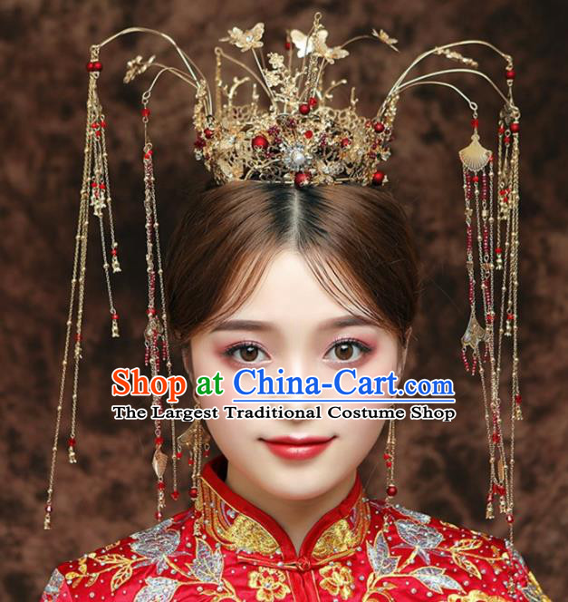 Chinese Ancient Bride Phoenix Coronet Hairpins Traditional Hanfu Wedding Hair Accessories for Women