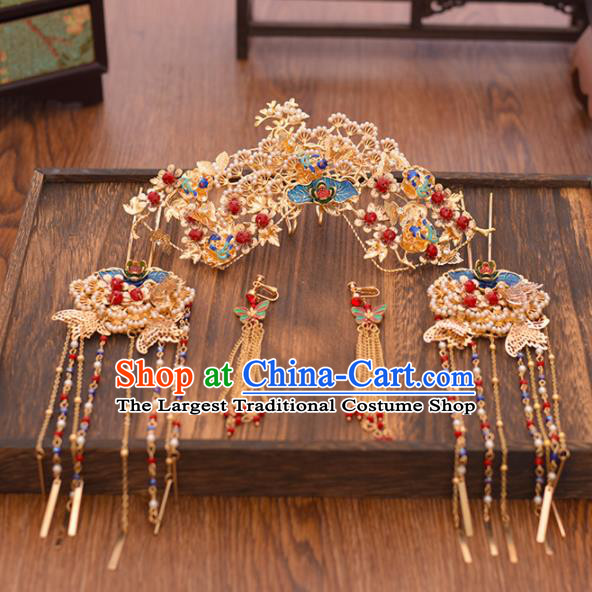 Chinese Ancient Bride Pine Phoenix Coronet Hairpins Traditional Hanfu Wedding Hair Accessories for Women