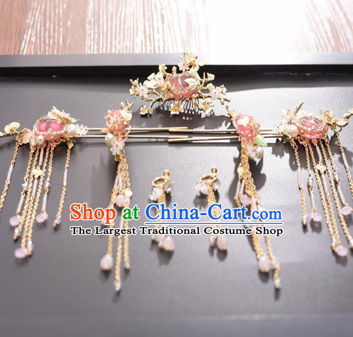 Chinese Ancient Bride Pink Stone Hair Comb Hairpins Traditional Hanfu Wedding Hair Accessories for Women