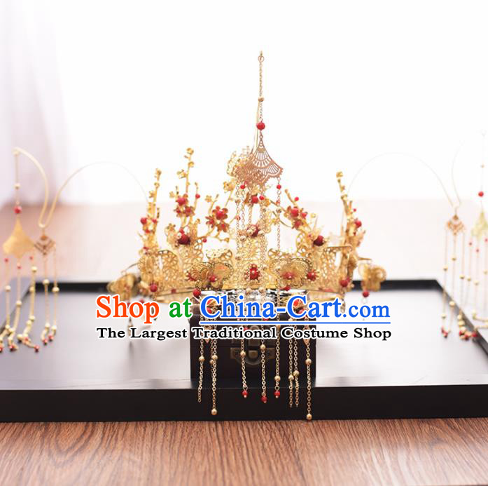 Chinese Ancient Bride Golden Butterfly Phoenix Coronet Hairpins Traditional Hanfu Wedding Hair Accessories for Women