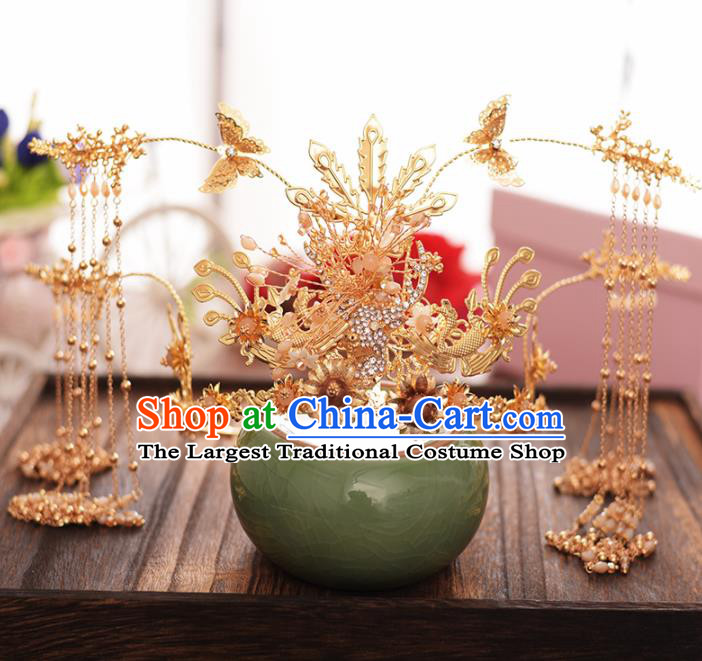 Chinese Ancient Bride Golden Tassel Phoenix Coronet Hairpins Traditional Hanfu Wedding Hair Accessories for Women