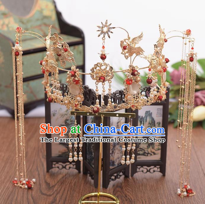 Chinese Ancient Bride Crane Tassel Phoenix Coronet Hairpins Traditional Hanfu Wedding Hair Accessories for Women