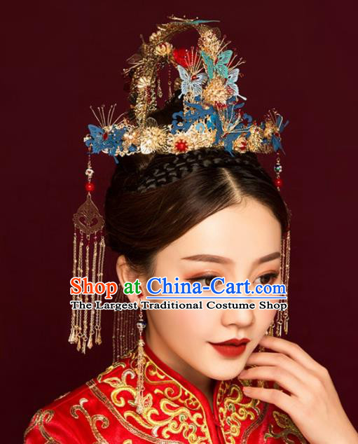 Chinese Ancient Bride Blue Butterfly Phoenix Coronet Tassel Hairpins Traditional Hanfu Wedding Hair Accessories for Women