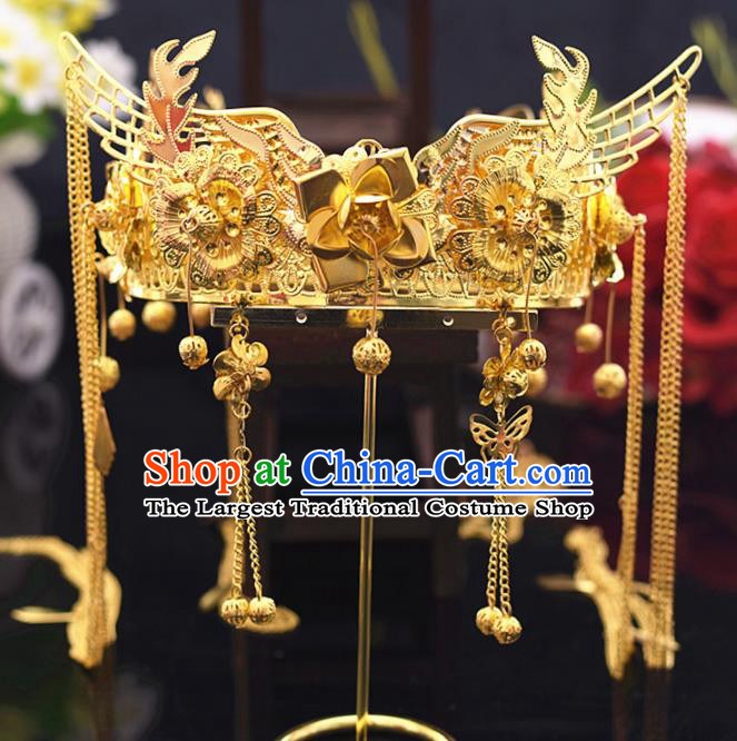 Chinese Ancient Bride Golden Flowers Phoenix Coronet Tassel Hairpins Traditional Hanfu Wedding Hair Accessories for Women