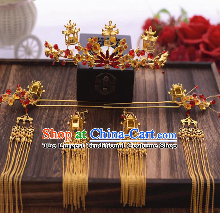 Chinese Ancient Bride Hair Crown Tassel Hairpins Traditional Hanfu Wedding Hair Accessories for Women