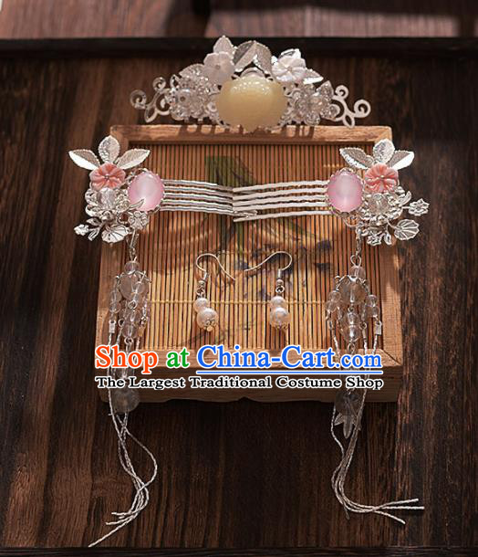 Chinese Ancient Bride Tassel Hair Comb Hairpins Traditional Hanfu Wedding Hair Accessories for Women