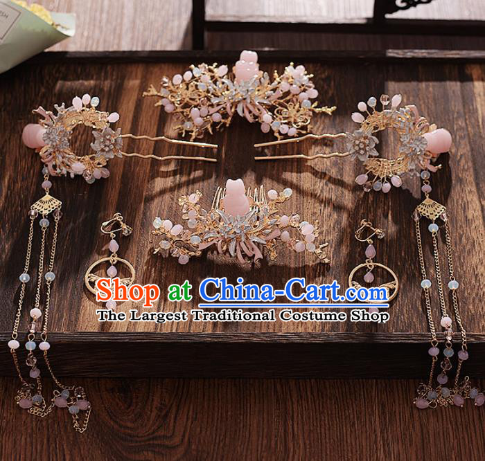 Chinese Ancient Bride Pink Stone Hair Comb Tassel Hairpins Traditional Hanfu Wedding Hair Accessories for Women
