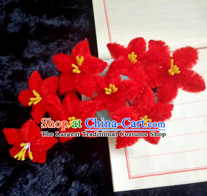 Chinese Ancient Red Velvet Flowers Hairpins Traditional Hanfu Handmade Hair Accessories for Women