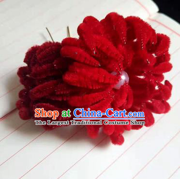Chinese Ancient Court Red Velvet Chrysanthemum Hairpins Traditional Hanfu Handmade Hair Accessories for Women