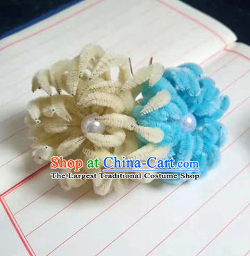 Chinese Ancient Court Yellow and Blue Velvet Chrysanthemum Hairpins Traditional Hanfu Handmade Hair Accessories for Women