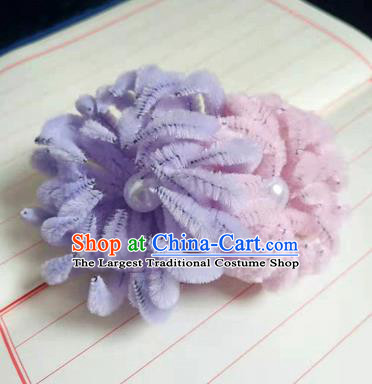 Chinese Ancient Court Lilac and Pink Velvet Chrysanthemum Hairpins Traditional Hanfu Handmade Hair Accessories for Women