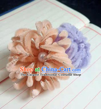 Chinese Ancient Court Lilac and Orange Velvet Chrysanthemum Hairpins Traditional Hanfu Handmade Hair Accessories for Women