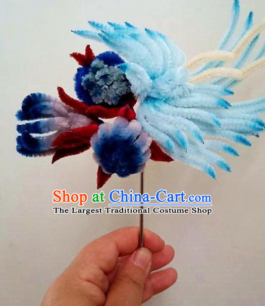 Chinese Ancient Court Blue Velvet Bird Chrysanthemum Hairpins Traditional Hanfu Handmade Hair Accessories for Women