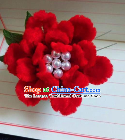 Chinese Ancient Court Red Velvet Peony Hairpins Traditional Hanfu Handmade Hair Accessories for Women