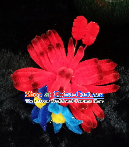 Chinese Ancient Court Red Velvet Butterfly Hair Claw Hairpins Traditional Hanfu Handmade Hair Accessories for Women