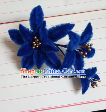 Chinese Ancient Court Royalblue Velvet Lily Flowers Hairpins Traditional Hanfu Handmade Hair Accessories for Women