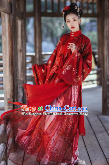 Traditional Chinese Ming Dynasty Bride Red Hanfu Dress Ancient Nobility Lady Wedding Replica Costumes for Women