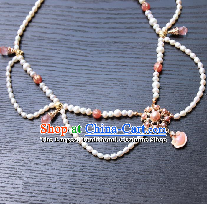 Chinese Ancient Court Pearls Necklace Traditional Princess Hanfu Wedding Accessories for Women