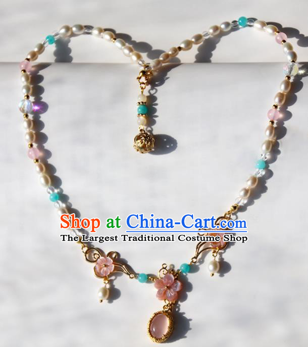 Chinese Ancient Court Pink Flower Pearls Necklace Traditional Princess Hanfu Wedding Accessories for Women