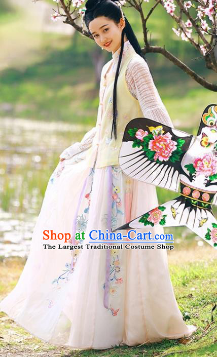 Traditional Chinese Ming Dynasty Hanfu Dress Ancient Young Lady Replica Costumes for Women