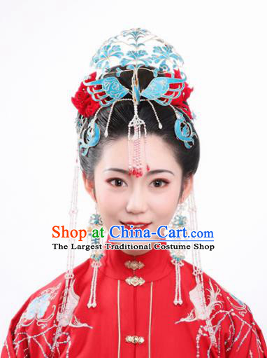 Ancient Chinese Ming Dynasty Wedding Phoenix Coronet Hairpins Traditional Hanfu Court Hair Accessories for Women