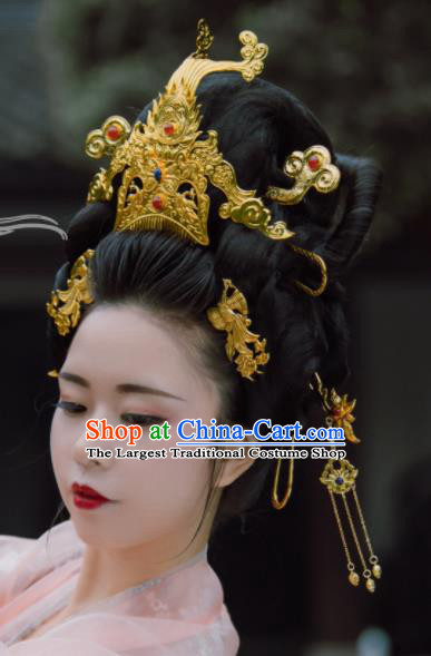 Ancient Chinese Tang Dynasty Queen Phoenix Coronet Hairpins Traditional Hanfu Court Hair Accessories for Women