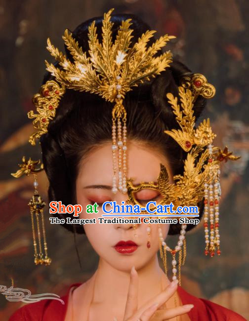 Ancient Chinese Tang Dynasty Imperial Consort Phoenix Coronet Hairpins Traditional Hanfu Court Hair Accessories for Women