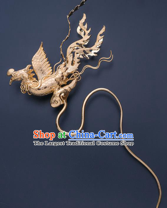 Ancient Chinese Ming Dynasty Phoenix Step Shake Hairpins Traditional Hanfu Court Hair Accessories for Women