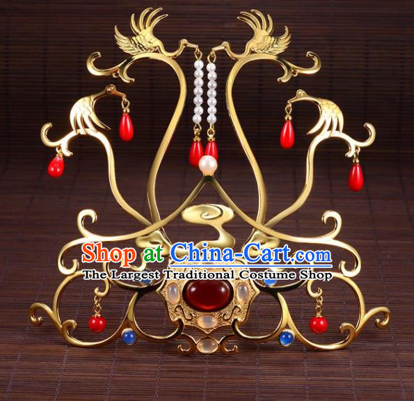 Chinese Ancient Princess Golden Crane Tassel Hair Crown Hairpins Traditional Handmade Hanfu Hair Accessories for Women