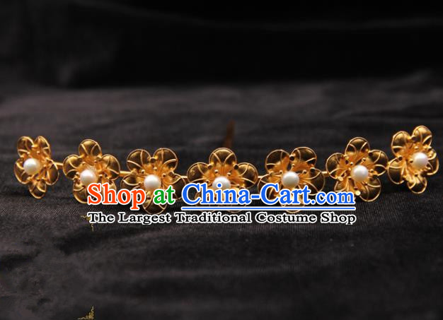 Chinese Ancient Ming Dynasty Empress Golden Flowers Hairpins Traditional Hanfu Court Hair Accessories for Women