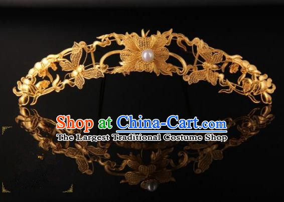 Chinese Ancient Ming Dynasty Empress Golden Butterfly Hairpins Traditional Hanfu Court Hair Accessories for Women