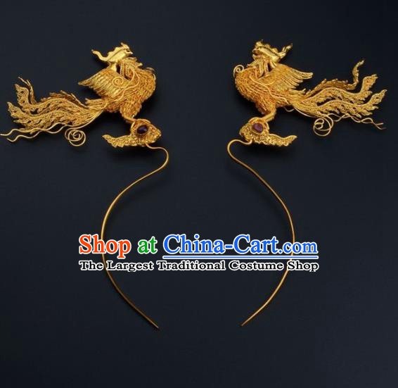 Ancient Chinese Ming Dynasty Empress Golden Phoenix Hairpins Traditional Hanfu Court Hair Accessories for Women