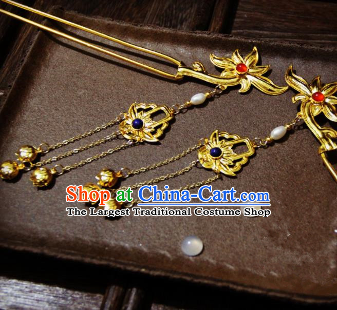 Ancient Chinese Ming Dynasty Empress Golden Lotus Tassel Hairpins Traditional Hanfu Court Hair Accessories for Women